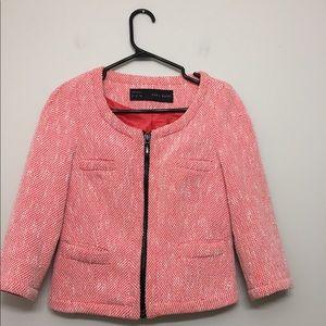 Zara Tweed Neon Chanel Blazer Sz XS